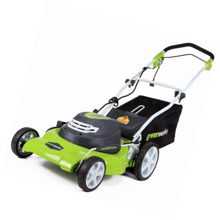 Electric Lawn Mower Light Clean Easy to Push 12 Amp Corded 20-Inch GreenWorks