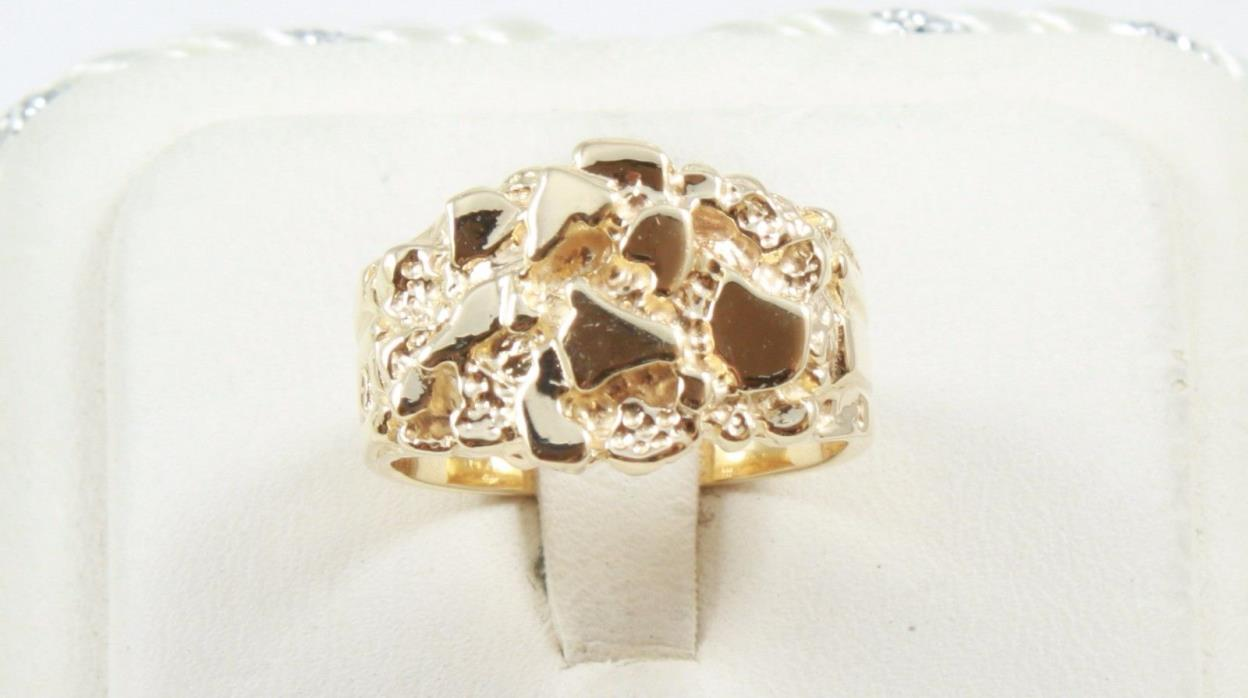 NEW 14K Solid Yellow Gold  Nugget Ring 8.8 Grams Size 8 Diamond Cuts