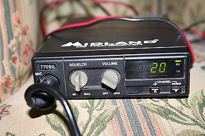 Midland 77-092 CB Radio 40 Channel Midland Mic Power Cord Tested Works!
