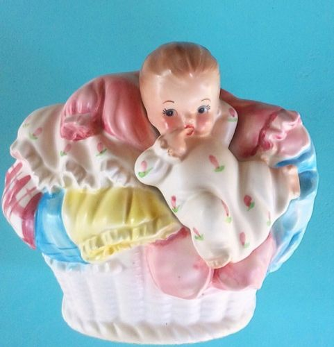 Vintage Napcoware Baby In A Laundry Basket Planter 1960s