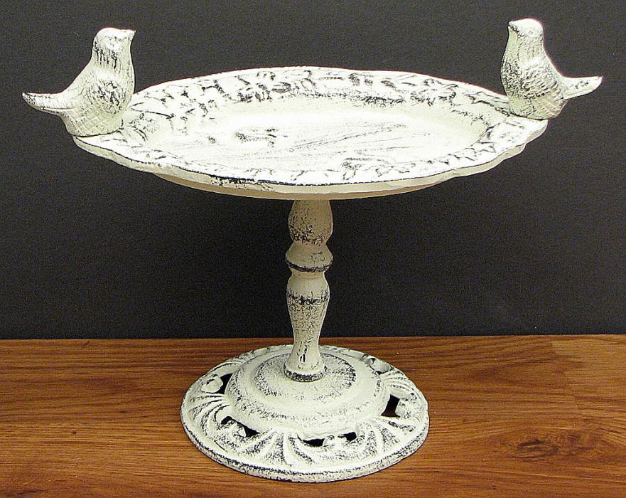 Distressed Rustic Country Table Top Small Antique White Bird Bath or Feeder