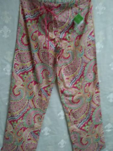 Vera Bradleu PJ pants NEW pink paisley lt cotton Pretty & Packable sz S Lounge