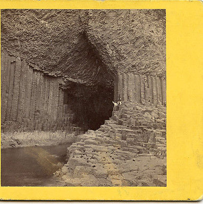 G W WILSON ABERDEEN SCOTLAND STEREOVIEW FINGAL'S CAVE STAFFA SCOTLAND TOURISTS