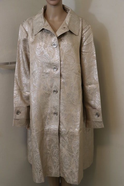Illusion by Sherry Cassin Coat Gold Embroidered Jacket Women's Plus Sz 2X