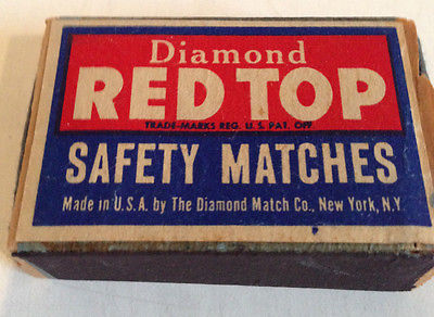 Vintage Diamond Red Top Safety Matches Match Wood Box Full USA New York, NY