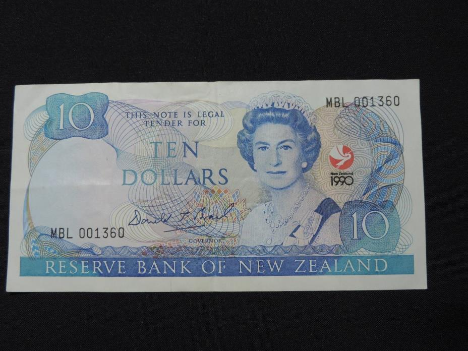 1990 $10 NEW ZEALAND BANK NOTE COMMEMORATIVE BILL 150TH ANNIVERSARY EF CONDITION