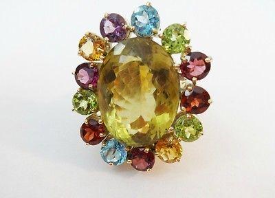 Superb 18K Gold  assorted colored stone Ring  17.92  ct Citrine Quartz