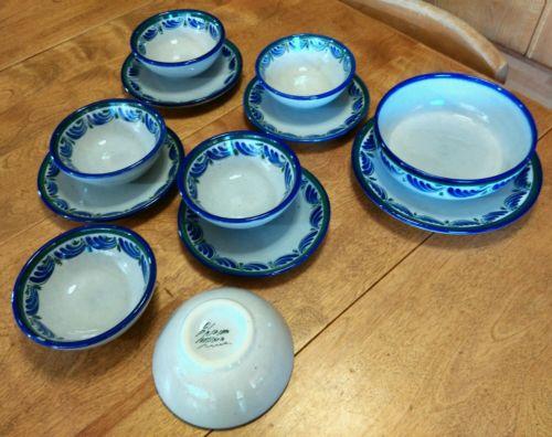 12 PCS Cereal Bowl Salad Dessert Plate Blue Mexico El Palomar Blue Ken Edwards
