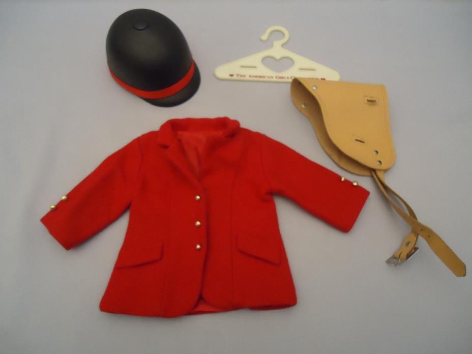 VTG AMERICAN GIRL RED WOOL EQUESTRIAN RIDING COAT Helmet LEATHER SADDLE Hanger