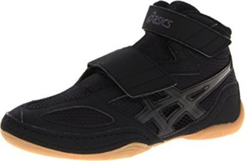 Black Asics Matflex 4 Velcro Closure Wrestling Shoes Kids Youth Boys Size 6