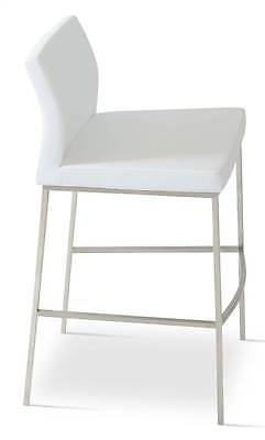 Upholstered Adjustable Stool with Stainless Steel Base [ID 3505126]