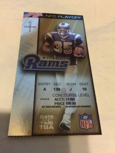 2000 - 2001 PACKERS @ RAMS DIVISIONAL PLAYOFF TICKET STUB -RARE- SUPER BOWL YEAR