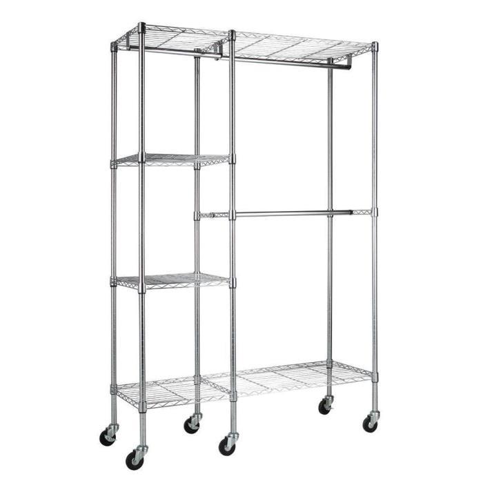 Rolling Garment Rack W/ 4-Shelf Chrome Portable Clothes Storage Hanger Organizer