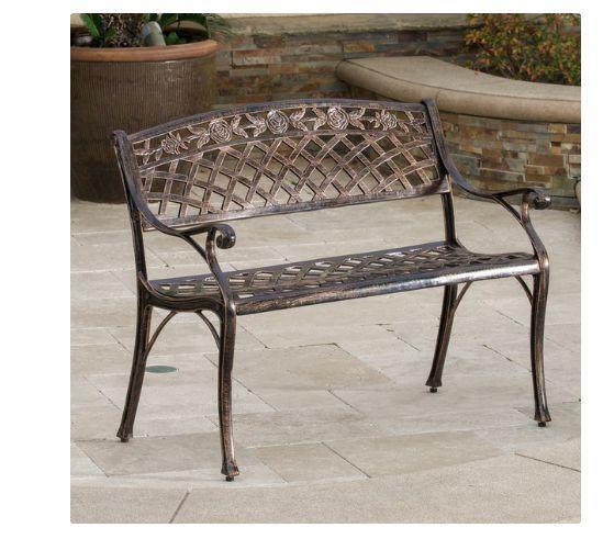 Cast Aluminum Bench For Outdoors Commercial Park Seat Garden Patio Metal Chair