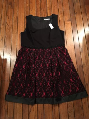 NWT Womens Plus 16W Dressbarn LUXE Red Black Floral Lace Dress Formal Wedding
