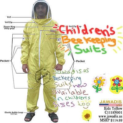 Jawadis Medium Yellow Children's Bee Suit for Kids Beekeepers Suits & Fence Veil