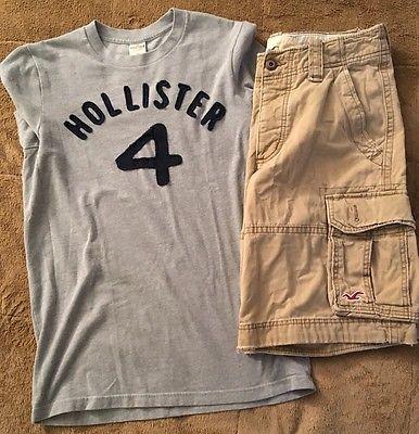 Hollister Mens Boys Khaki Cargo Size 28 Shorts and Logo Shirt Medium Outfit Lot