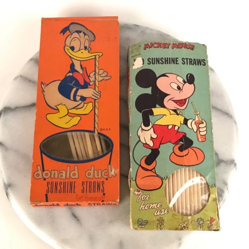 Lot Vintage Donald Duck and Mickey Mouse Sunshine Straws