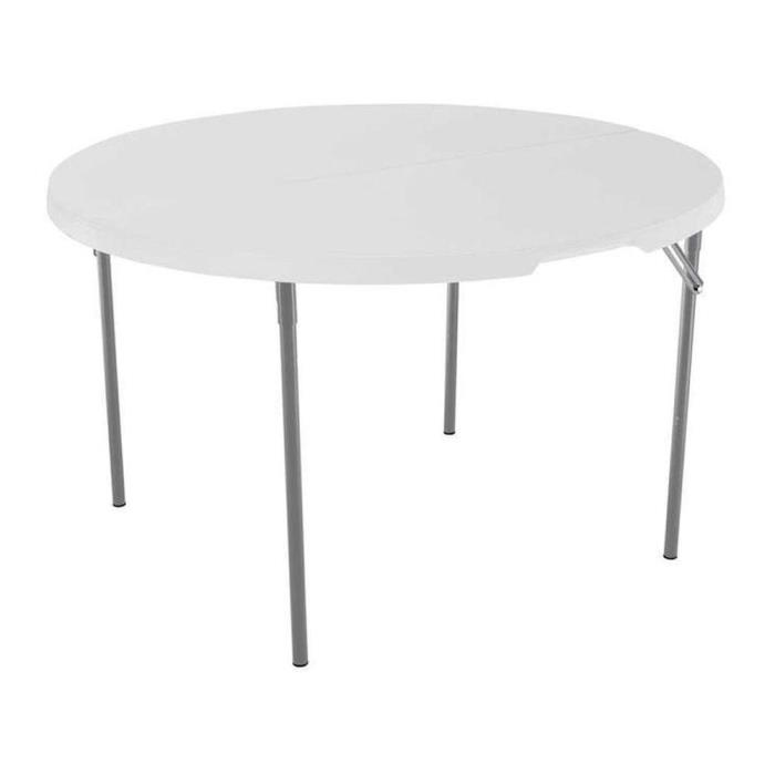 Folding 4' Round Card Game Table White Granite Commercial Home Outdoor Furniture