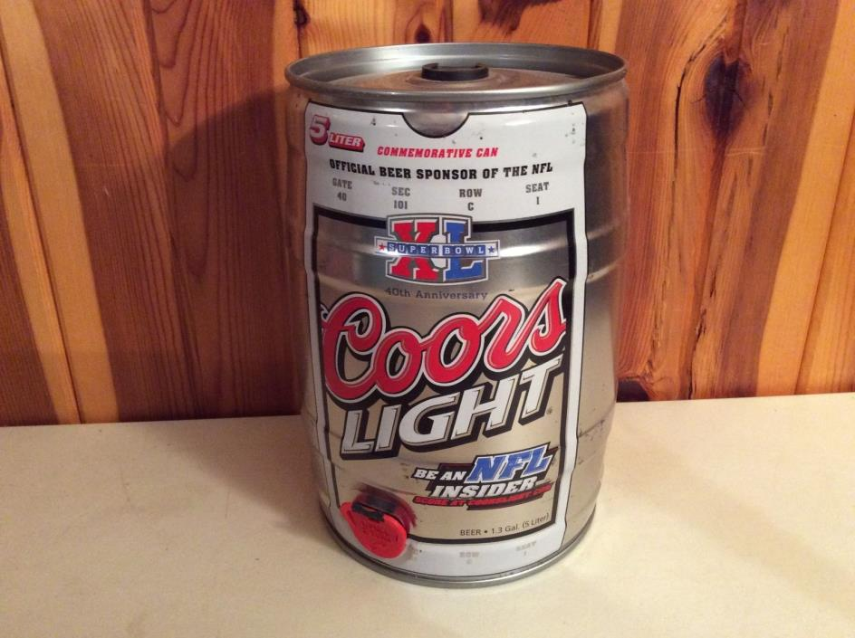 COORS LIGHT BEER NFL 51 Commemorative Super Bowl XL 1.3 GALLON CAN