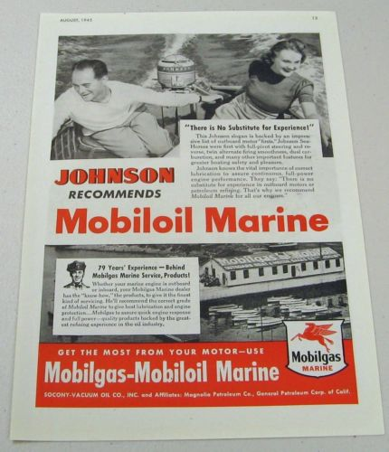 1945 Print Ad Mobiloil Marine Mobilgas Marina Johnson Outboard Motor
