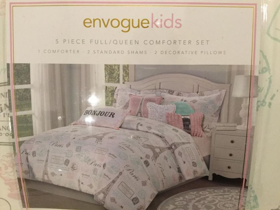 New  Envogue Kids Eiffel Tower Paris Grey Pink Green F/Queen Comforter Set????