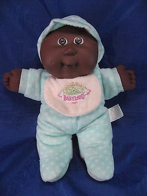 1988 Cabbage Patch Babyland Plush Black Color Baby Doll with Aqua Polka Dot PJs