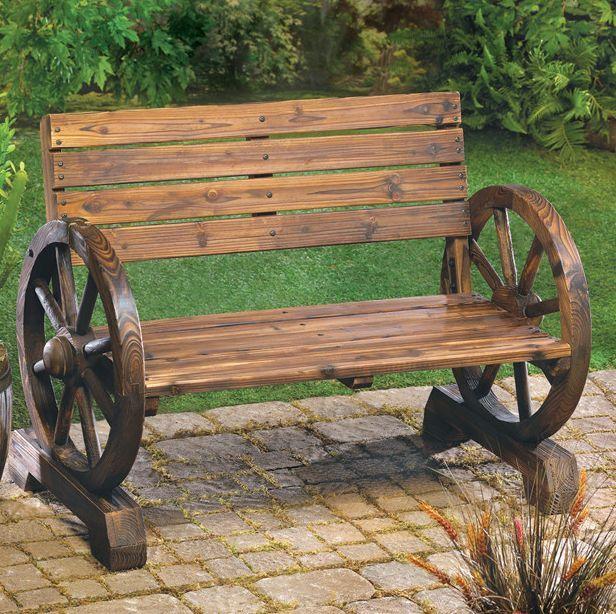 Commercial Park Bench Rustic Wagon Wheel Wooden Garden Patio Chair Seat Outdoor