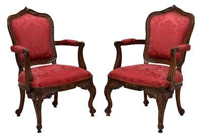 (PAIR) FRENCH LOUIS XV STYLE ARM CHAIRS, early 1900s