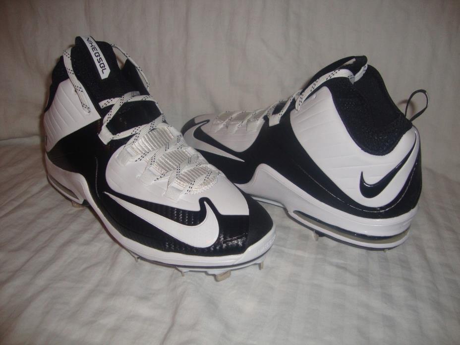 Nike 684687 Men's Air Max Elite 2 Metal 3/4 Baseball Cleats Size 11 White & Blk