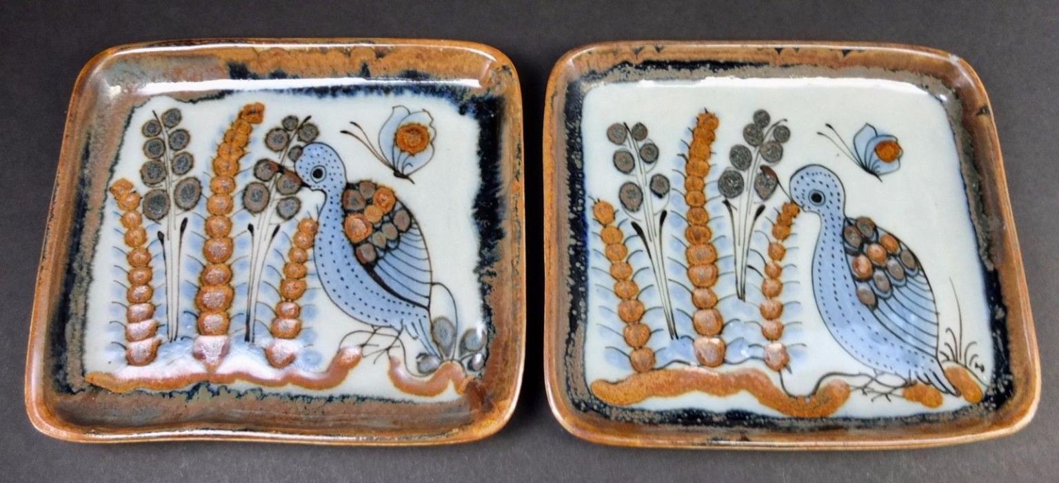 Two Vintage Ken Edwards Tonala El Palomar Mexico Small Trays Or Plates