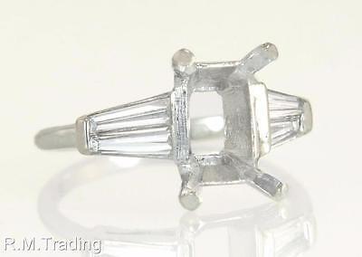 Antique Estate 14k White Gold .40ct Genuine Diamond Semi Mount Ring 3.9g $1795