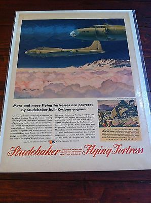 Vintage Studebaker Flying Fortress B-17 Bomber WW II Print ad