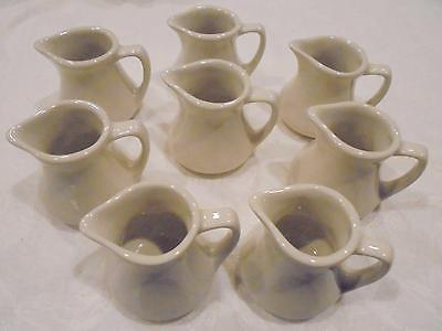 8 Hall China Ivory Restaurant Style Mini Individual Creamers Syrup Pitchers EUC!