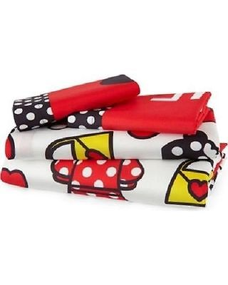 Disney Minnie Mouse 4PC Full Sheet Set Red Yellow Black White Super Soft New