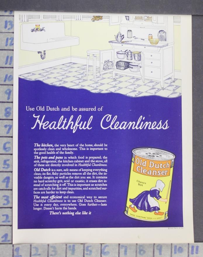 1925 OLD DUTCH CLEANSER HEALTH BEAUTY KITCHEN CLEAN CABINET VINTAGE ART AD DN54