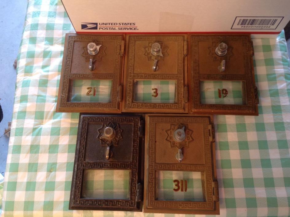Lot Vintage/Antique Post Office PO Box Bank Brass Bronze Mail Box Doors 5