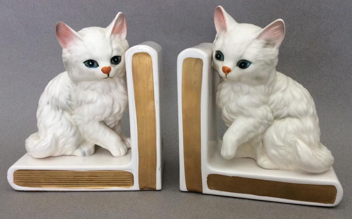 Vintage Pair of LEFTON White Ceramic Kitten CAT BOOKENDS Book Ends