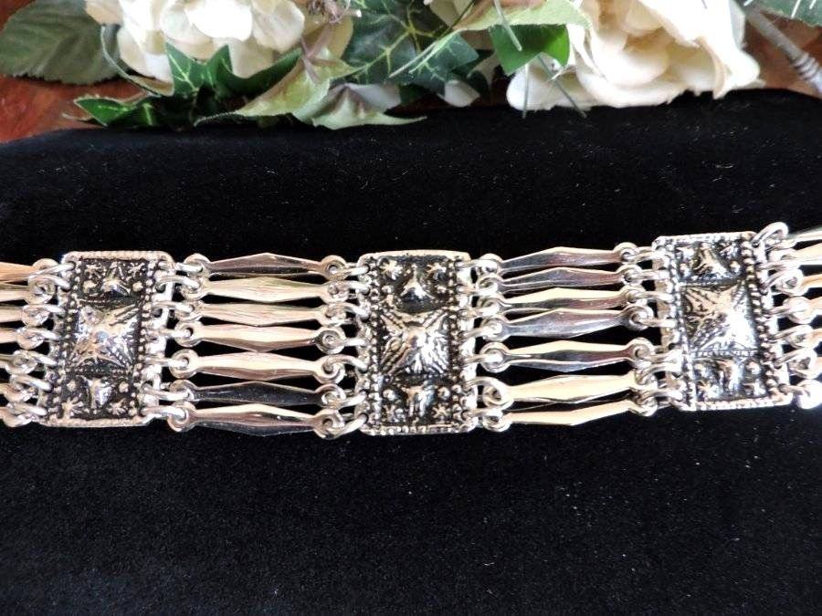 Vintage Mexico Sterling Silver 925 Wide Panel Bracelet