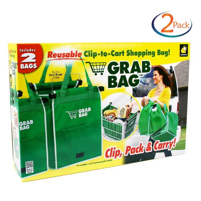 2 Pk- Grab Bag Reusable Set Clip-To-Cart Groceries/Shopping Bags 2 Count