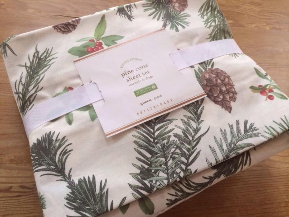 4 pc. Pottery Barn Pine Cone Queen Sheet Set - Rare and Hard to Find!