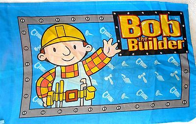 Vtg 2001 Bob The Builder 4 pc - Twin Sheet Set Flat, Fitted, Pillowcase, Valance