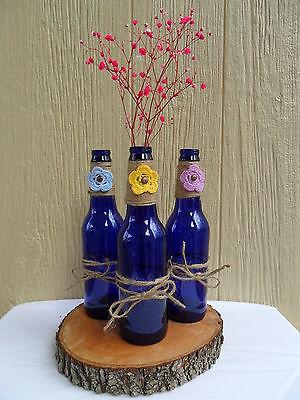 Set of 3 three Cobalt Blue bottles with jute twine - WEDDING, party, vase, decor