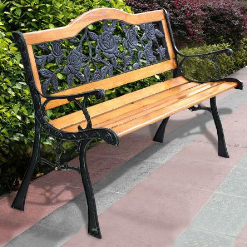 Costway Patio Park Garden Bench Porch Path Chair Furniture Cast Iron Hardwood:Ye