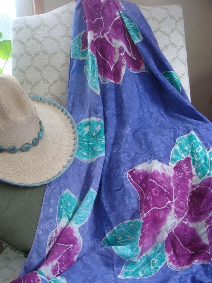 100% Silk Jacquard Hand Dyed Buckaroo Wild Rag Purple Floral Oversized 44