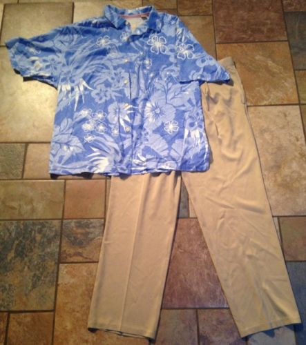Men's Tommy Bahama 2pc Lot Sz35x30 Tan Pants XL Blue Button Down Shirt