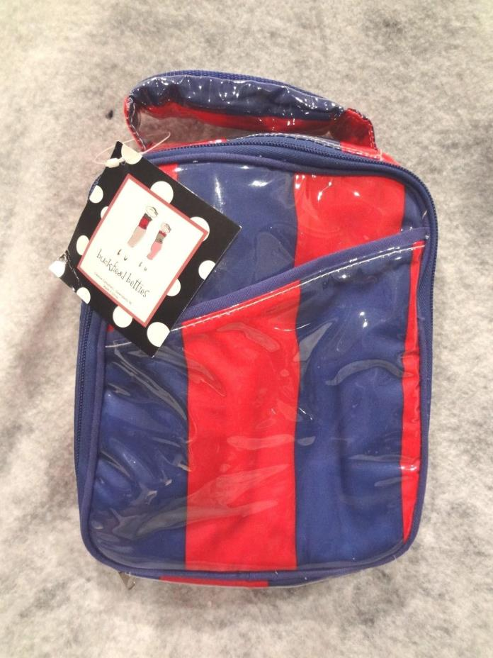 BUCKHEAD BETTIES~Zippered Tote RED & BLUE Insulated Lunchbox Bag~NEW with TAG