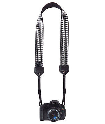 Houndstooth with Black Classic Camera Strap