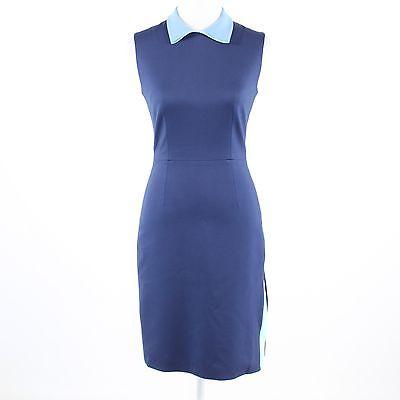 Dark blue stretch ROKSANDA light blue & green trim sleeveless sheath dress 8