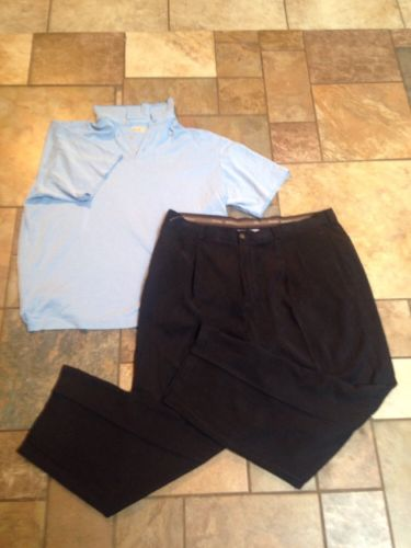 Men's Tommy Bahama 2pc Lot 40x30 Navy Blue Pants XL Light Blue/white Polo Shirt